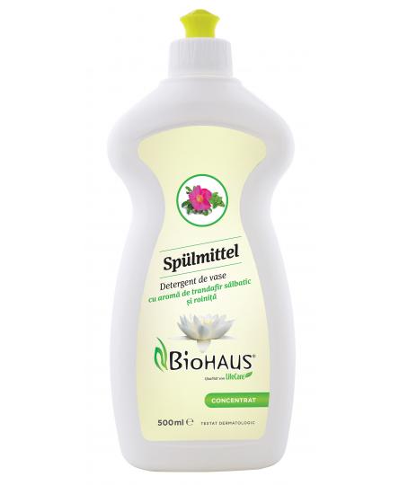 Detergent pentru vase cu aroma de trandafir salbatic si roinita BioHAUS®