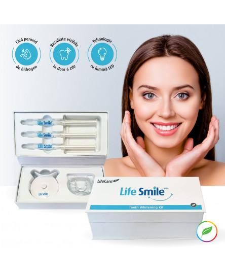 Kit pentru albirea dintilor, Life Smile, cu lumina LED, Life Care®